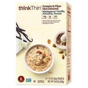 Think Thin Protein & Fiber Hot Oatmeal Madagascar Vanilla, Almonds, Pecans