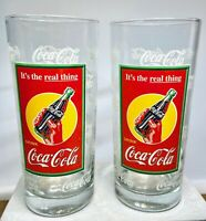 """Vtg Set of 2 Coca Cola """"It's The Real Thing"""" Collectible 16-oz Drinking Glasses"""