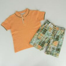 JANIE & JACK Boys Rainforest Patchwork Shorts Polo Shirt Outfit Set Size 4