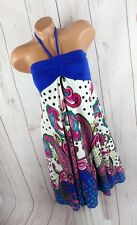 ITALY STYLE Neckholder Kleid Babydoll Sommerkleid Boho blau bunt 34 36 38 40