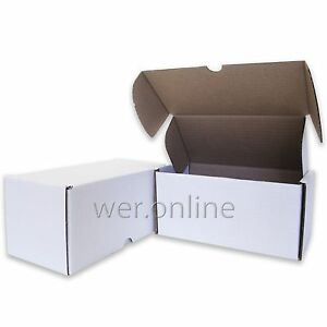 """White 8x4x4""""  Diecut Post Mailing Cardboard Boxes Single Wall Packaging Cartons"""