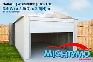 Garage Shed, 3.4(W)x5.9(D)x2.5(H)m, Garden, Storage, Workshop, Large Steel Shed