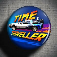 DELOREAN TIME TRAVELLER Pin Badge Button (25mm 1 inch) Back to the Future Sci Fi