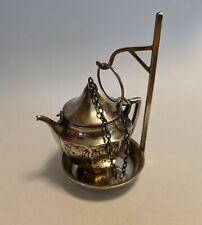Antique Sterling Si 00004000 lver Teapot Tea Strainer Engraved Scroll-work w Stand Webster