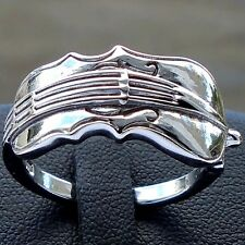 925 Sterling Silver Music Violin Ring Size 9 Band Unisex Solid Hallmark Unbr New