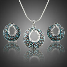 Platinum Plated Blue Tiger Made With Swarovski Crystal Earring Necklace Set