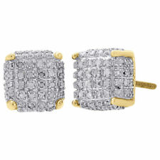 10K Yellow Gold Real Diamond Stud 9mm 3D Cube Square Mens Pave Earrings 0.50 Ct.