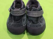 Crocs Slip On Shoes Sz C 9 Dawson Kids Suede Black Gray Clogs 10512 Casual