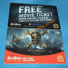 """RED ROBIN BURGER """"PIRATES OF THE CARIBBEAN"""" MOVIE GIFT CARD NO VALUE NEW 2017"""