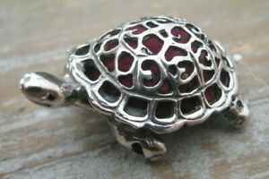 A Sweet Sterling Silver Pierced Turtle Pin Cushion - Red Velvet