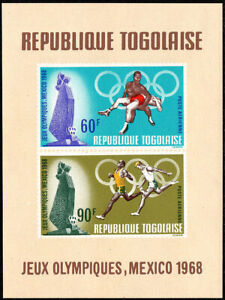 Togo C96a S/s, MNH. Summer Olympic Games, Mexico. Running, Wrestling, 1968