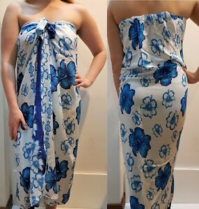 Mumu Sarong Hibiscus Blue Hawaiian Tube Dress Boho Beach Bali Sz S M L XL 10-22