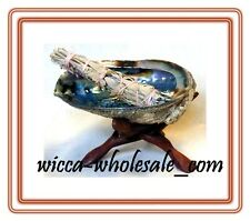 """HUGE Abalone Shell, 6"""" Tripod Stand and White Sage Smudge Stick: House Cleansing"""