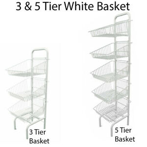 Basket Stand 3 & 5 Tier White Shop Display for Bread, Snacks, Clothes or Toys