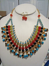 Multi Color Glass And Stone Bead Dangle Ethnic Style Necklace earring Set