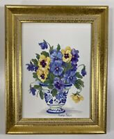 Barbara Mock Framed Floral Print - Pansies In Blue & White Pot/Urn - 8 X 10 Gold