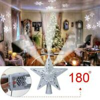 3D Hollow Star Christmas Tree Topper LED Snowflake Projector Lights Decoration