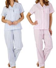 Ladies Slenderella Pyjamas Seersucker Stripe PJ Button Up Top & Trousers Bottoms