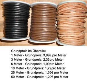 Lederriemen Lederband rund Lederrundschnur 5 mm aus Büffelleder NEU
