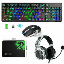 2.4G Wireless Gaming Keyboard and Mouse 4800mAh Rechargeable Backlit +Headset UK