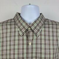Peter Millar Brown Green Purple Check Plaid Mens Dress Button Shirt Size 2XL XXL
