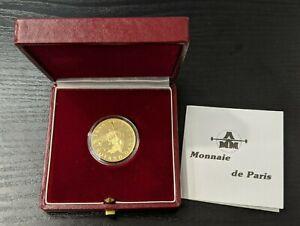 """France Monnaie de Paris 10 Francs Or """"Roland Garros"""" 1988 Avec coffret"""