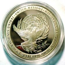 Scarce 1975 Franklin Mint United Nations Peace Medal Proof .925 Sterling Silver