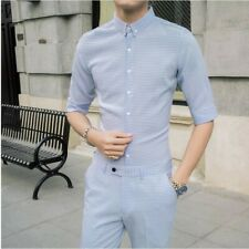 Mens Summer Shirt Suits Plaids Check Slim Fit Casual Sets T-shirts+Ninth Pants