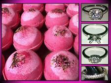 LARGE 4.5 OZ BOMBSHELL BATH BOMB FIZZY BLING RING CRAZY LOVE SPELL PINK GLITTER