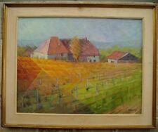 Tableau Original Delanoy Arbois Jura Vignes Vin vers 1950 Franche-Comté