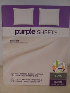 Purple Queen/Full/Full XL Slate Gray Soft Stretch Sheet Set