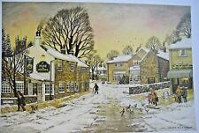 SHEFFIELD SCENES DORE VILLAGE/ HARE & HOUNDS BY BILL KIRBY 33 X 24 CM       #NS#