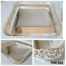 Silver Plated Square Chrome Serving Tray Vintage Indian Tea Design Royal Paandan