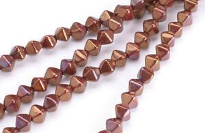 50 Cinnamon Spice Bicone Czech Glass Beads 6MM
