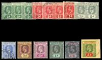 British Virgin Island 1913 KGV complete set inc all listed shades VFU. SG 69-77.