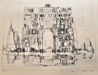 "MAX GUNTHER Original Mid-Century PENCIL-SIGNED LITHOGRAPH ARCH DE TRIUMPH ""9/16"""