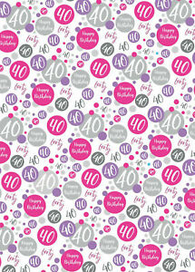 2 Sheets 40th Birthday Wrapping Paper Age 40 Gift Wrap Female Pink & White (PA)