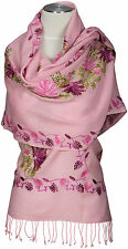 Pashmina Schal bestickt  embroidered  scarf stole  100% wool Wolle Rosa