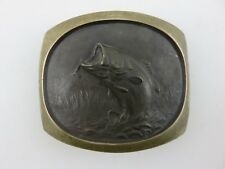 Steven L Knight Sculpture Bass Fly Fishing Belt Buckle Solid Bronze Vintage USA