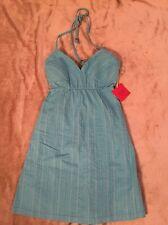 Mossimo Women's Spaghetti Strap Halter Top Dress NWT size XS Blue Pinstripes