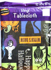 "VINYL HALLOWEEN TABLECLOTH BLACK CATS SKULLS OWLS PUMPKINS POTION BOTTLES 52x90"""