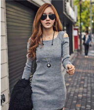 Women Winter Knitted Jumper Gray Sweater Tops Pullover Knitwear Long Tops Dress