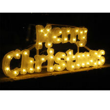 New 3D Merry Christmas Text Display Decoration String Lights Stand alone