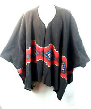 Western Style Gray Poncho Blanket Costume Party High Low Gray/Red One-Size