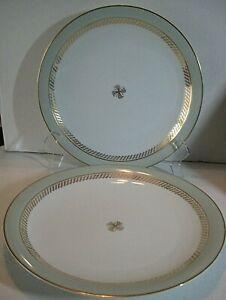 Noritake 5583 Fine China White w/green & gold trim Circa 1954 - 2 dinner plates