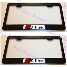 Audi S Line SLINE Stainless Steel Black License Plate Frame Rust Free W/Caps