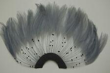 ONE FEATHER PINWHEEL - SILVER GREY Hackle Feathers; Headbands/Halloween/Craft