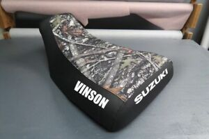 Suzuki 4WD King Quad 300 Seat Cover 1988 To 1994 Camo & Black Vinson Suzuki Logo