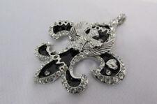 Women Silver Metal Pendant Charm Cross Bling Love Angel Wings Fleur De Lis Large
