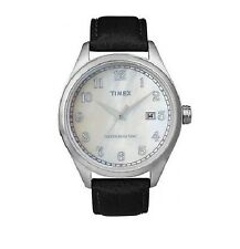 NEW TIMEX BLACK LEATHER WHITE MOP DIAL WITH DATE WATCH-T2N401